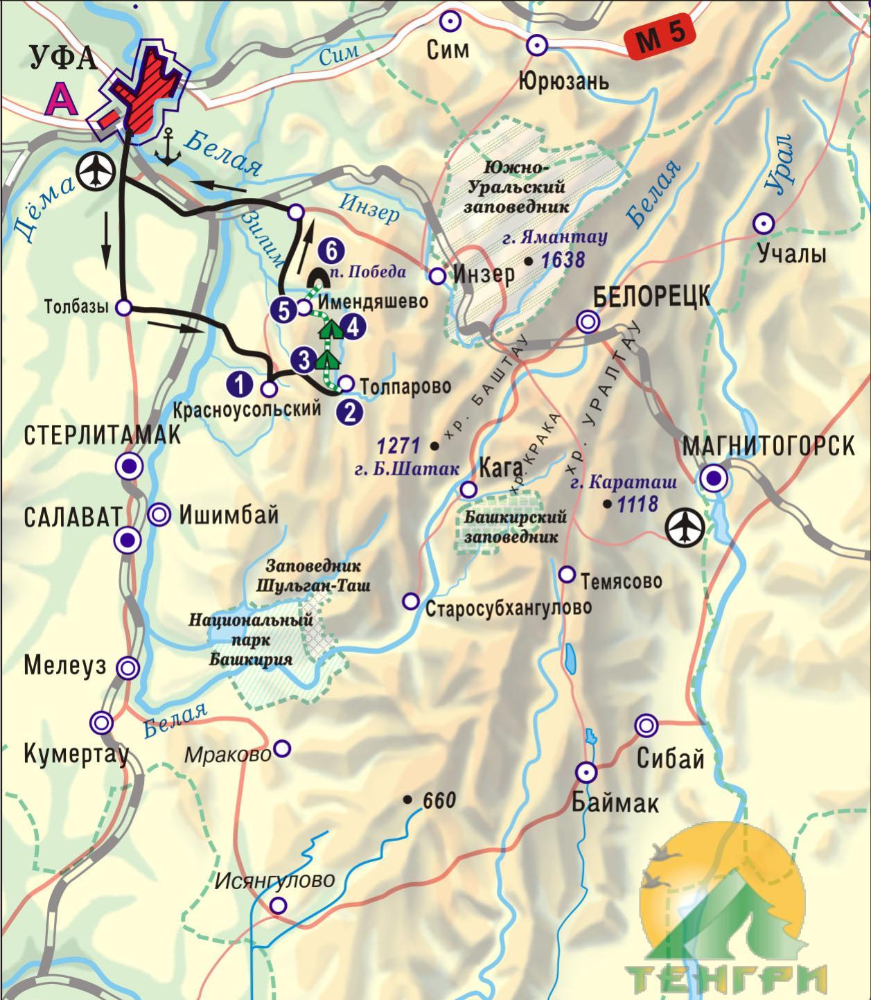 Схема конного маршрута 'Толпар - крылатый конь'