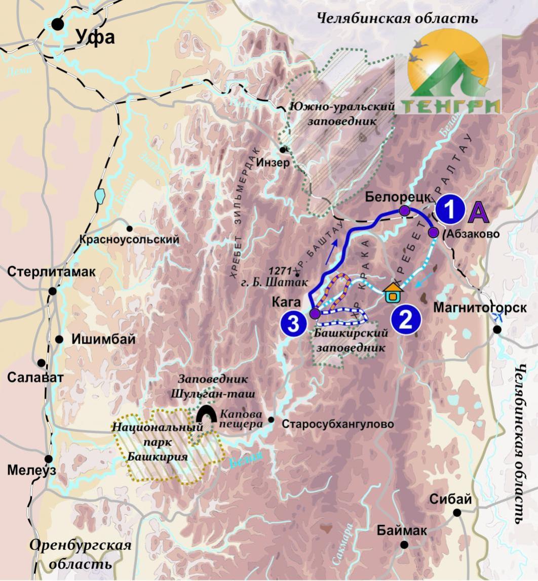 Схема комбинированного маршрута Уральский узор: лыжи, кони, снегоход.