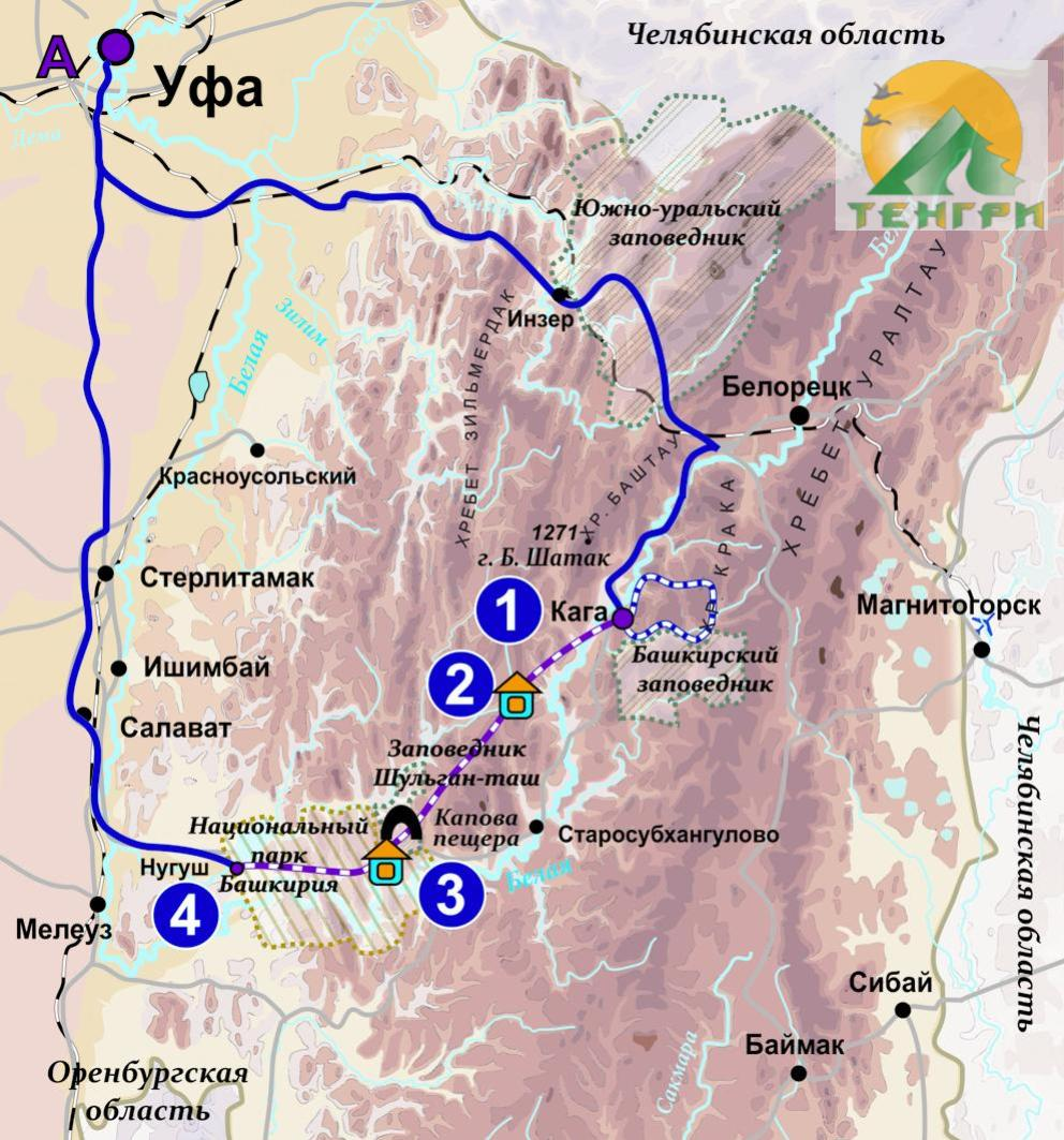 Схема снегоходного маршрута Заповедным таежным путем.